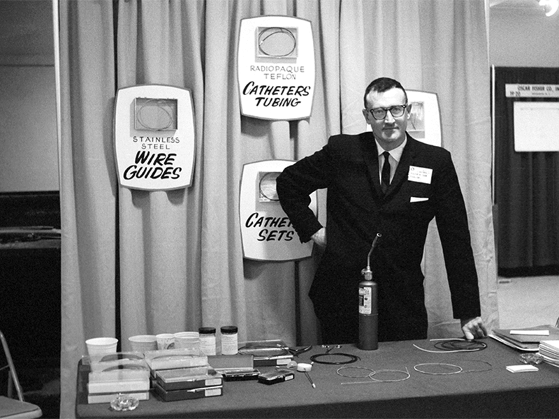 Cook Inc. founder Bill Cook debuts his wire guide, catheter and needle set at the 1963 Radiological Society of North America conference in Chicago.